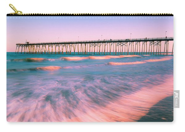 Carry-all Pouch featuring the photograph Sunset At Kure Beach Fishing Pier Panorama by Ranjay Mitra
