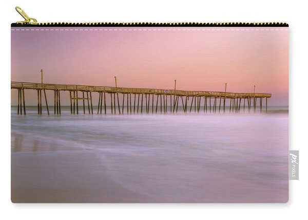 Carry-all Pouch featuring the photograph Sunset At Rodanthe Fishing Pier In Obx Panorama by Ranjay Mitra