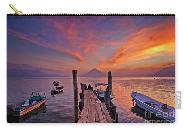 Carry-all Pouch featuring the photograph Sunset At The Panajachel Pier On Lake Atitlan, Guatemala by Sam Antonio Photography