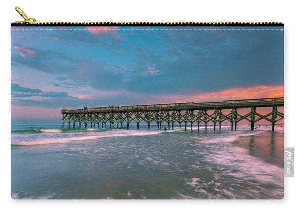 Carry-all Pouch featuring the photograph Sunset At Wilmington Crystal Pier In North Carolina by Ranjay Mitra