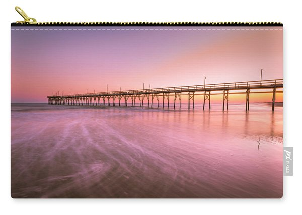 Carry-all Pouch featuring the photograph Sunset Beach Fishing Pier In The Carolinas At Sunset by Ranjay Mitra