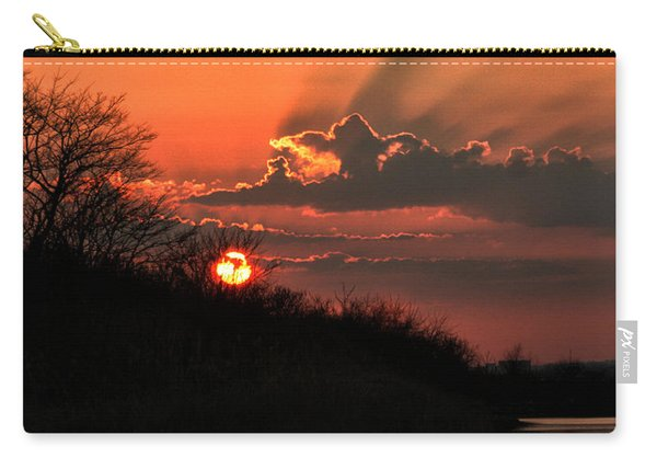 Carry-all Pouch featuring the photograph Sunset Behind A Knoll by William Selander