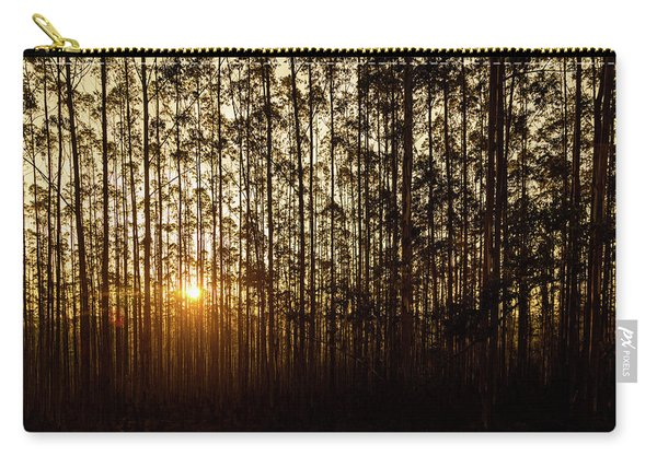 Sunset Behind Row Of Trees In Sihlouette Carry-all Pouch