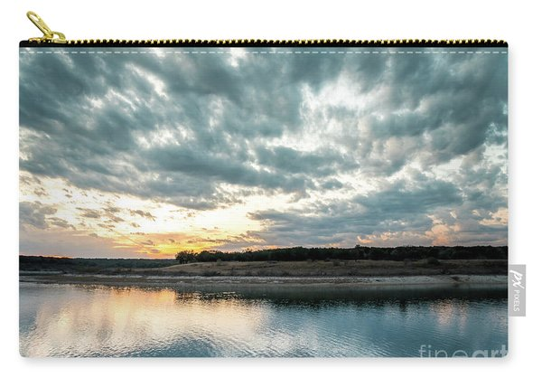 Sunset Behind Small Hill With Storm Clouds In The Sky Carry-all Pouch