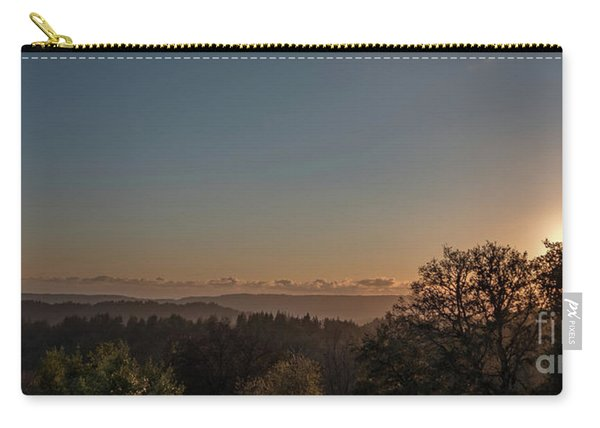 Sunset Behind Tree With Forest And Mountains In The Background Carry-all Pouch