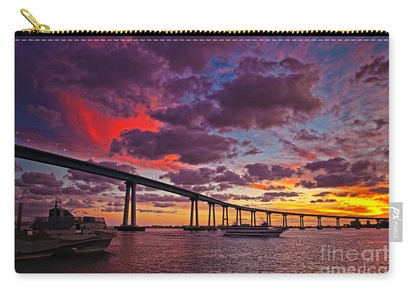 Carry-all Pouch featuring the photograph Sunset Crossing At The Coronado Bridge by Sam Antonio Photography