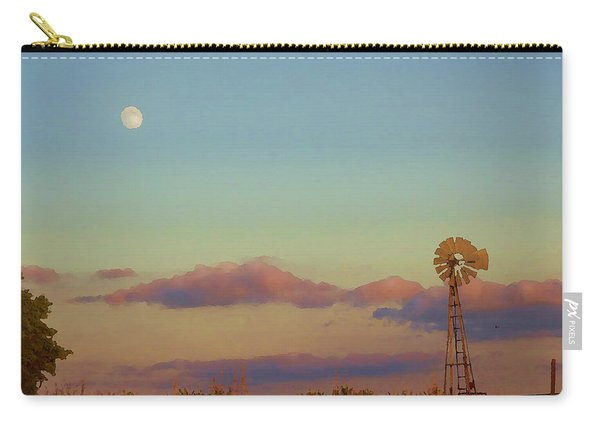 Sunset Moonrise With Windmill  Carry-all Pouch
