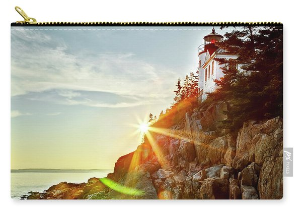 Ocean Sunset On Maine's Bass Harbor Lighthouse Carry-all Pouch