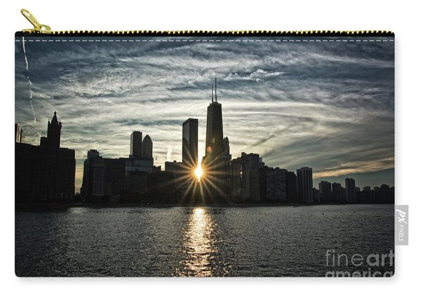 Sunset Over Chicago Skyline And Lake Michigan Carry-all Pouch