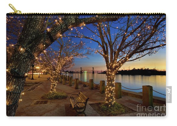 Carry-all Pouch featuring the photograph Sunset Over The Wilmington Waterfront In North Carolina, Usa by Sam Antonio Photography