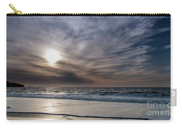 Sunset Over West Coast Beach With Silk Clouds In The Sky Carry-all Pouch