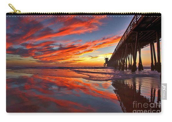 Carry-all Pouch featuring the photograph Sunset Reflections At The Imperial Beach Pier by Sam Antonio Photography