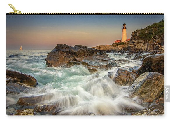 Sunset Sail At Portland Head Light Carry-all Pouch
