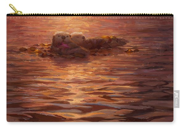 Sea Otters Floating With Kelp At Sunset - Coastal Decor - Ocean Theme - Beach Art Carry-all Pouch
