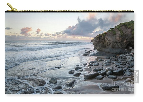 Sunset View In The Distance With Large Rocks On The Beach Carry-all Pouch