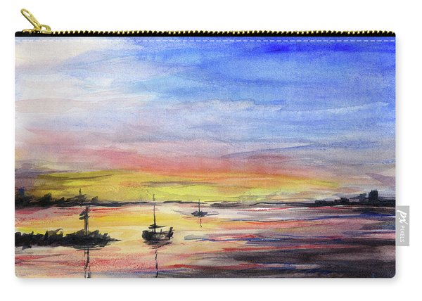 Sunset Watercolor Downtown Kirkland Carry-all Pouch