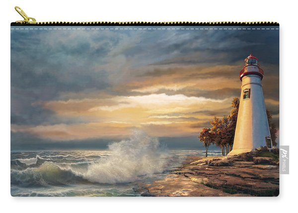 Sunset With Ohio Marble Head Lighthouse Carry-all Pouch