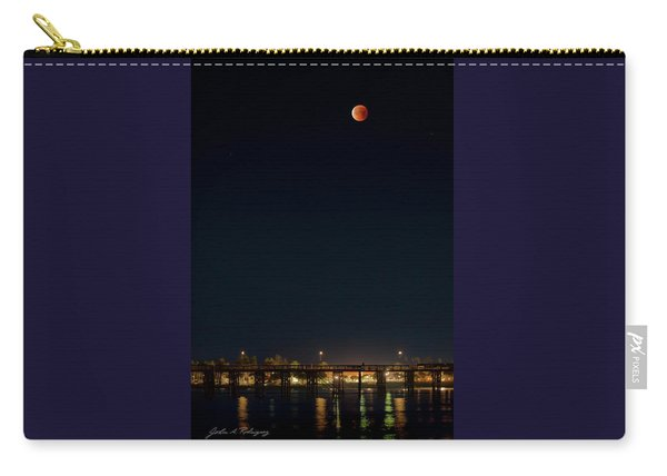 Super Blood Moon Over Ventura, California Pier Carry-all Pouch