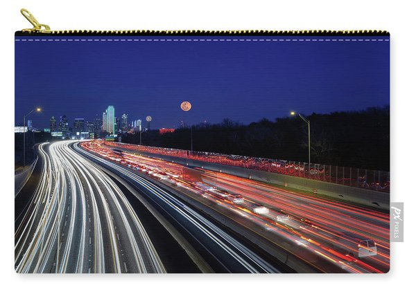 Super Moon And Dallas Texas Skyline Carry-all Pouch