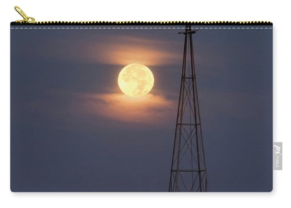 Carry-all Pouch featuring the photograph Super Moon And Windmill by Rob Graham