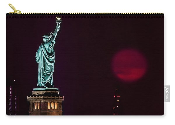 Super Moon Rising And The Statue Of Liberty Carry-all Pouch
