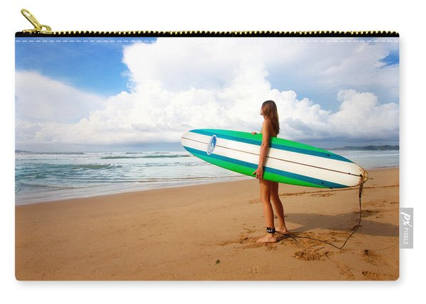 Surfer Girl On Sand Beach Carry-all Pouch
