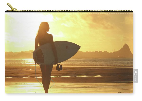 Surfer Girl On Summer Sunset Beach Carry-all Pouch