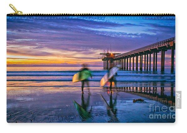 Surfers At Scripps Pier In La Jolla California Carry-all Pouch