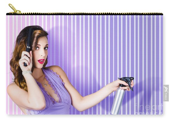 Surprised Pinup Woman With Beauty Salon Hair Style Carry-all Pouch