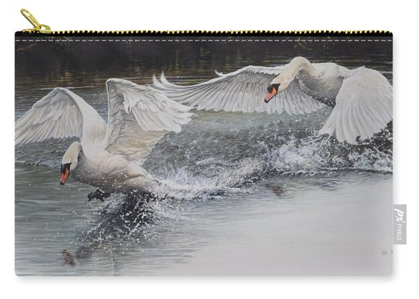 Carry-all Pouch featuring the painting Swans In Dispute by Alan M Hunt