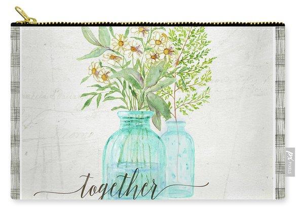 Sweet Life Farmhouse 6 Daisy Fern Frond Bouquet Vintage Aqua Glass Bottles Carry-all Pouch