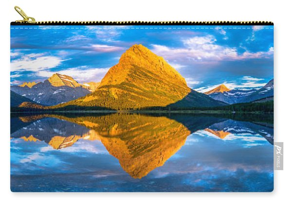 Carry-all Pouch featuring the photograph Swiftcurrent Lake Sunrise Panorama by Dustin  LeFevre