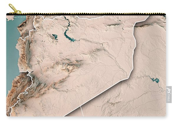 Syria Country 3d Render Topographic Map Neutral Border Carry-all Pouch