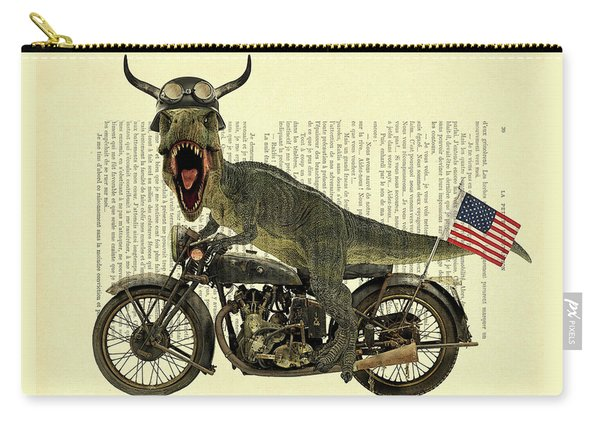 T Rex Riding His Harley, Dictionary Print Carry-all Pouch