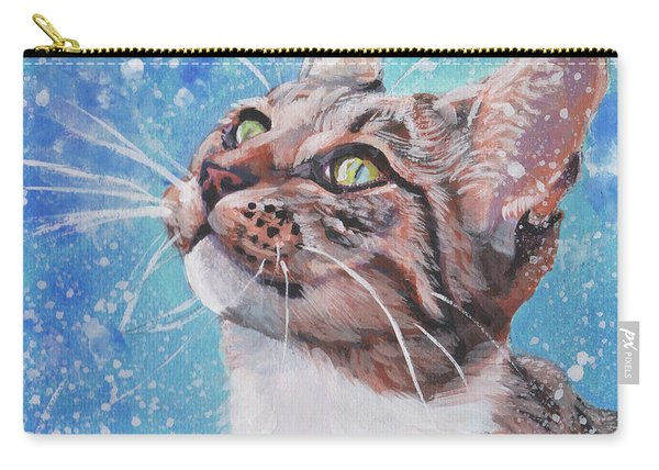 Tabby Cat In The Winter Carry-all Pouch