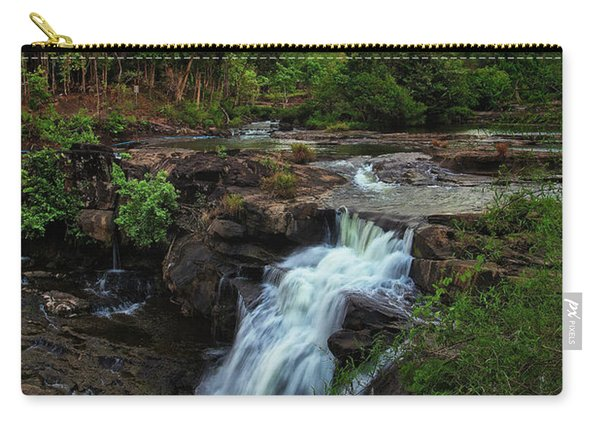 Carry-all Pouch featuring the photograph Tad Lo Waterfall, Bolaven Plateau, Champasak Province, Laos by Sam Antonio Photography