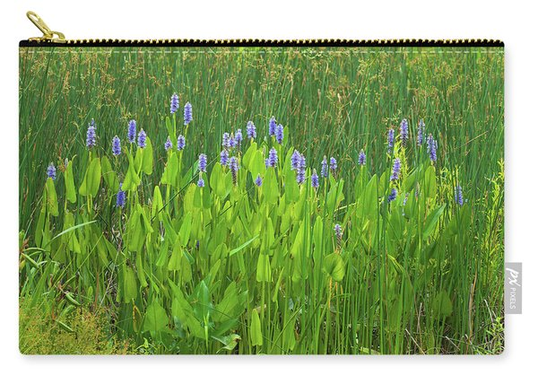 Tall Purple And Blue Blooming Flowers Carry-all Pouch