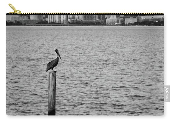 Tampa Skyline And Pelican Black And White Carry-all Pouch