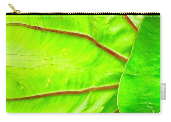 Taro Leaf Close Up In Green Carry-all Pouch