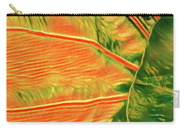 Taro Leaf In Orange - The Other Side Carry-all Pouch