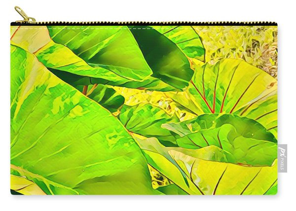 Taro Leaves In Green Carry-all Pouch