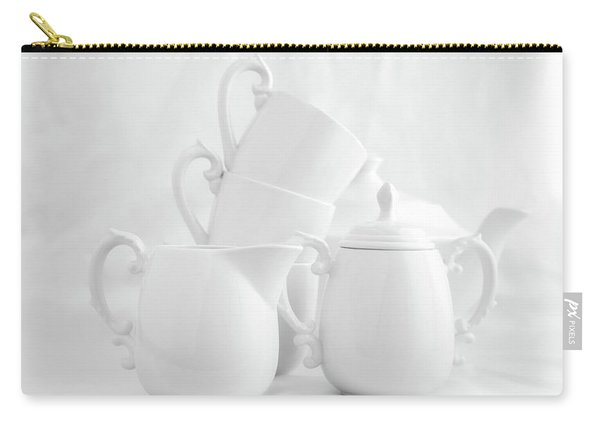 Tea For Three In White Carry-all Pouch
