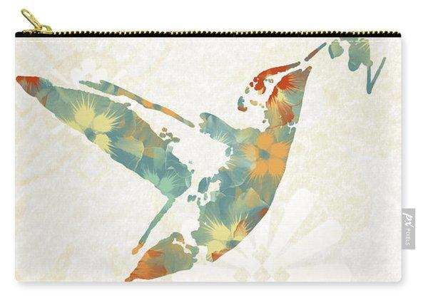 Floral Hummingbird Art Carry-all Pouch