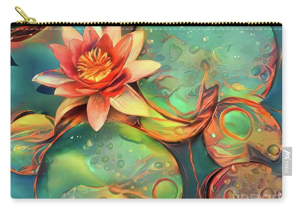 Teal Waterlilies 11 Carry-all Pouch
