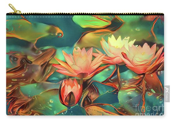 Teal Waterlilies 6 Carry-all Pouch