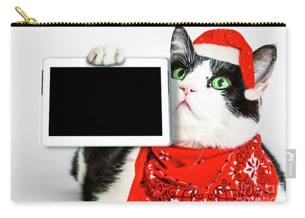 Carry-all Pouch featuring the photograph Technology Christmas Cat by Benny Marty