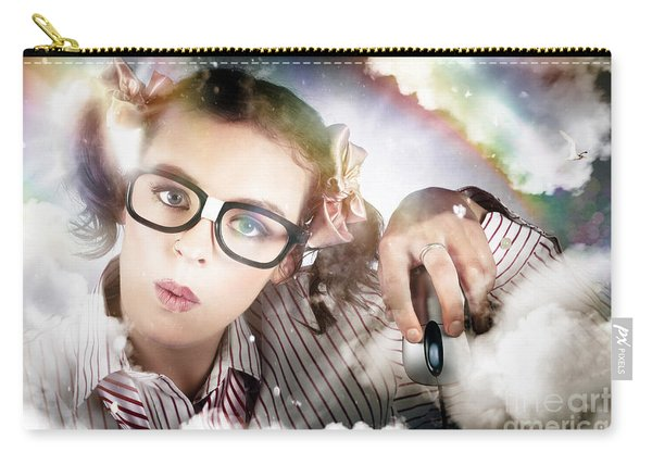 Technology Smart Woman Using Cloud Computing Carry-all Pouch