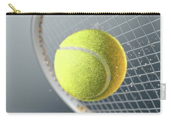 Tennis Ball Striking Racqet In Slow Motion Carry-all Pouch