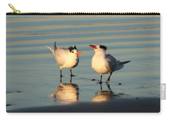 Carry-all Pouch featuring the photograph Terns On The Beach  by Christy Pooschke