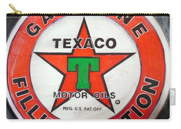 Carry-all Pouch featuring the painting Texaco Sign by Richard Le Page